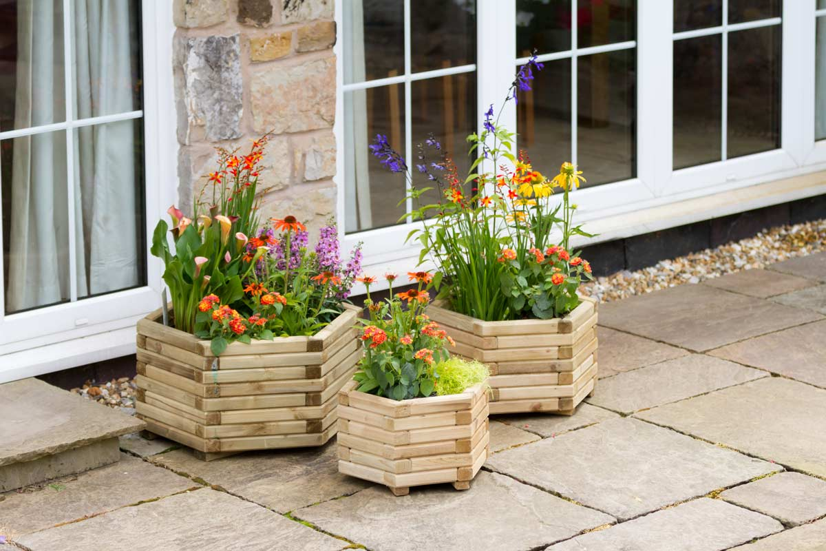 We have an excellent range of timber planters (like this Marford planter pictured) and raised beds in a variety of shapes and heights.