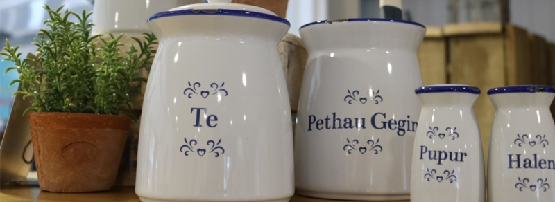 Welsh language products at the Woodworks garden centre
