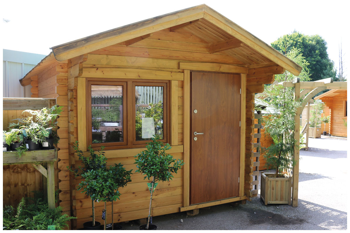 Timber cabins now on sale at the Woodworks Garden Centre in Mold.